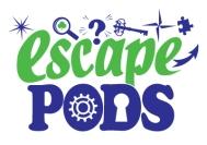 EscapePodsLogoGreenAndBlueSMALL