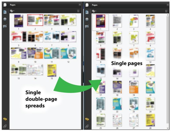 Single double-paged spreads to single pages.
